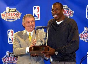 Stoudemire averaged 13.5 points and 8.8 rebounds per game to become the first player drafted out of high school to win the NBA's Rookie of the Year award.