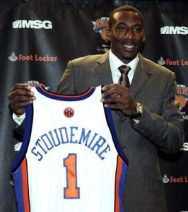 "On June 30, 2010, Stoudemire became an unrestricted free agent. He signed a 5-year contract with the New York Knicks, immediately proclaiming, ""The New York Knicks are back."""
