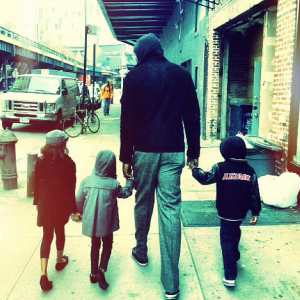 Stoudemire and his kids in New York City.