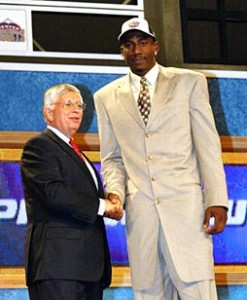 The Phoenix Suns select Amar'e Stoudemire in the first round of the 2002 NBA Draft, making him the only player drafted straight out of high school that year.