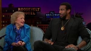 On the Late Late Show, Amar'e is quizzed on whether Betty White was born before or after certain things.