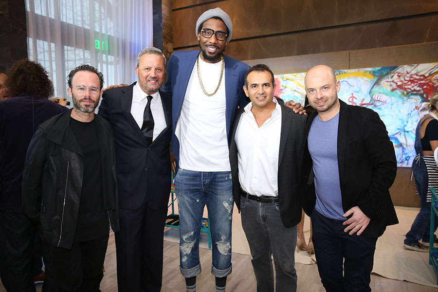 Pictured: Daniel Arsham (artist), George Mato, Amar'e Stoudemire, Ophir Sternberg (Ritz), & Michael Klug (Whitewall) Photo Credit : Loamis, World Red Eye